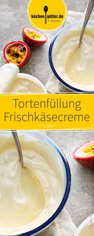 Einfaches und leckeres Rezept für Frischkäsecreme als Tortenfüllung.