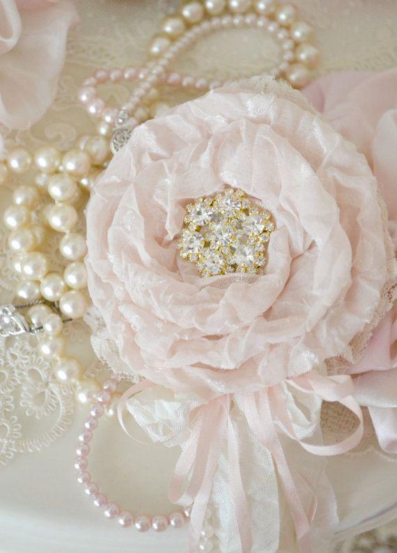 Pale Blush Silk and Lace Gillyflower Handmade by by Jenneliserose