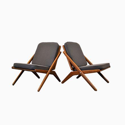 Dänische Teak Lounge Stühle Von Arne Hovmand Olsen Für Jutex, 1960er, .