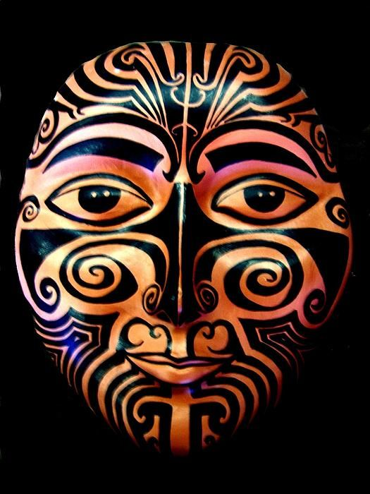 Maori Mask by Michelle Dallocchio. Print of what appears to be a ceramic mask. Love it.