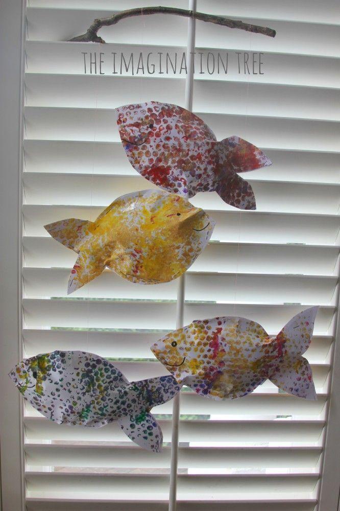 Bubble wrap fish mobile