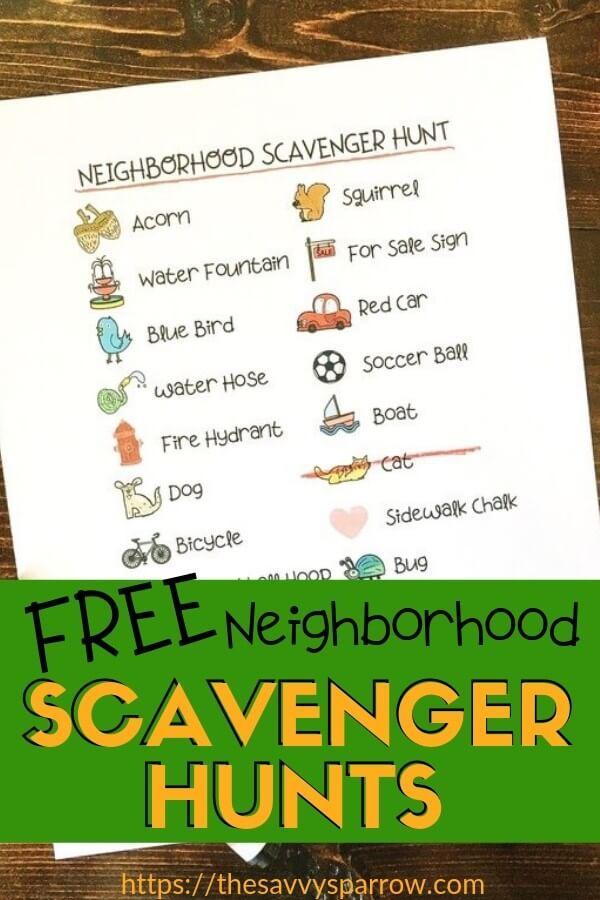 Neighborhood Scavenger Hunt With Free Printables Neighborhood Scavenger Hunt Outdoor Scavenger Hunts Outdoor Activities For Kids