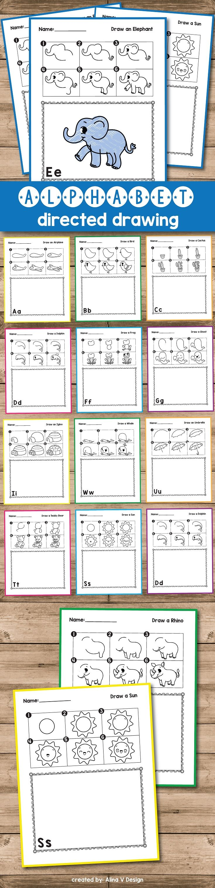 Directed Drawing for kids that will teach them step by step how to draw by following directions in a fun and engaging way. Your kindergarten, preschool or first grade students will love these cute animals. They can choose from adorable frogs, cute lions, fish, penguins and even robots .This activity includes 26 directed drawing pages + 26 alphabet worksheets that you can use this fall, for back to school or for art therapy .