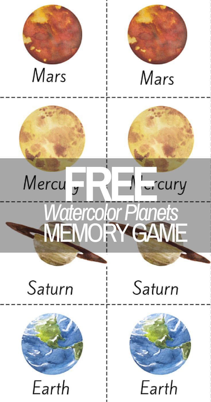 Beautiful Watercolor Planet Solar System Printable Memory Game!