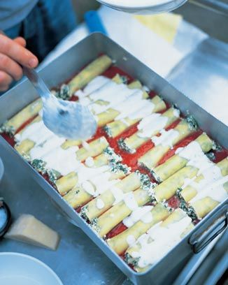 awesome spinach and ricotta cannelloni  http://www.jamieoliver.com/recipes/pasta-recipes/awesome-spinach-ricotta-cannelloni