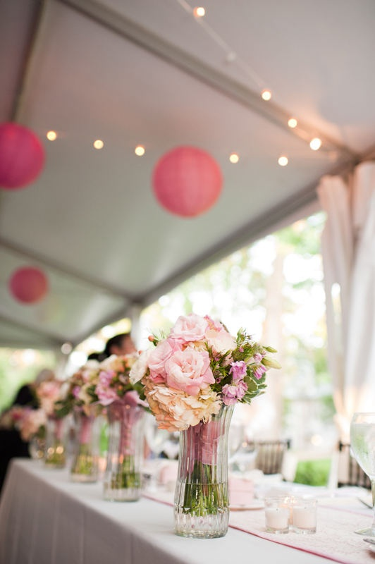"""provide a vase at each bridesmaid seat with a little water so they can """"post"""" their bouquets for the reception - it keeps them fresh, gets them out of the way and makes for a very pretty picture!"""