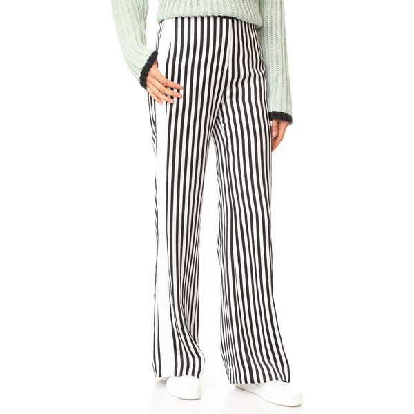 Victoria Victoria Beckham Relax Tux Pants ($825) ❤ liked on Polyvore featuring pants, relaxed pants, zipper pants, faux-leather pants, stripe pants and tuxedo stripe pants