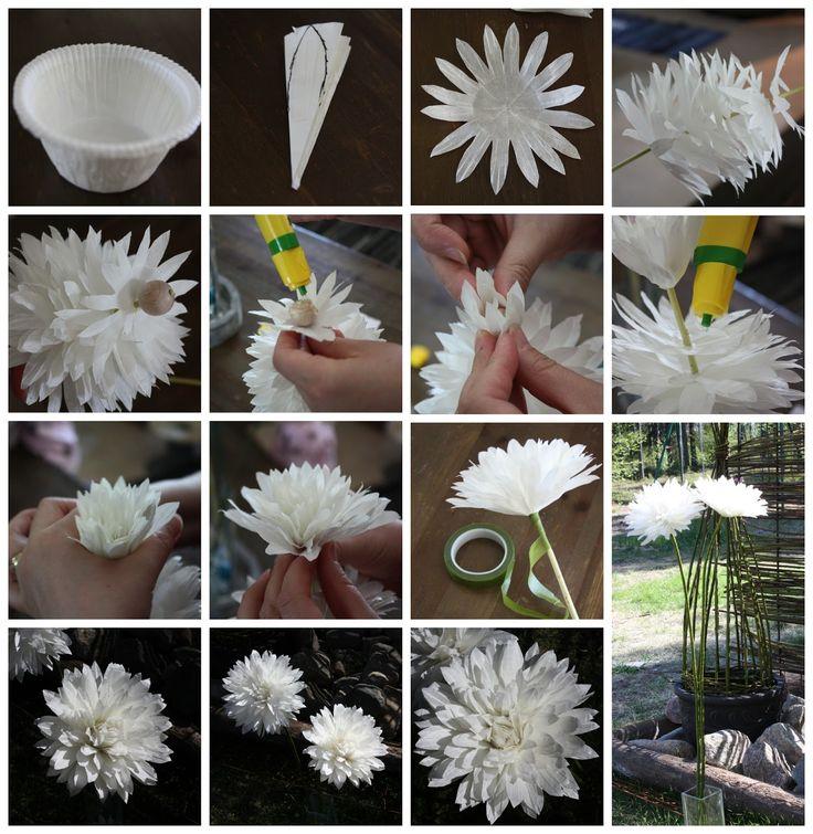 DIY, Muffinssikukkat, Paperikukat, Paper flowers, muffinssivuoka