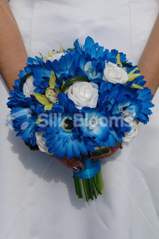 Modern Blue Gerbera, White Rose and Yellow Orchid Bridal Bouquet
