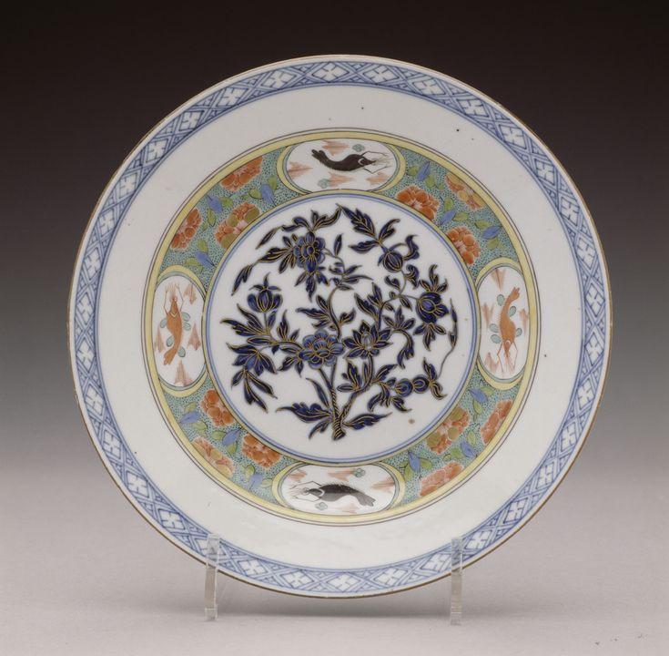 Teller mit Hummer-Dekor und indianischem Blütenstrauch | Meißener Porzellanmanufaktur | Bildindex der Kunst & Architektur