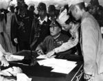 Lieutenant General Yoshio Tachibana aboard USS Dunlap off Chichi Jima to surrender the Bonin Islands, 3 Sep 1945