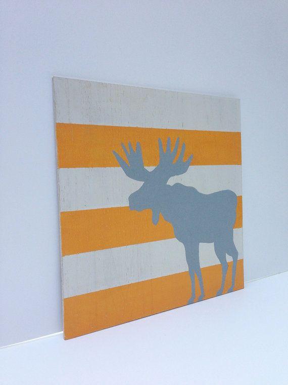 Hand painted Woodland Moose Nursery Art by SweetBananasArt on Etsy