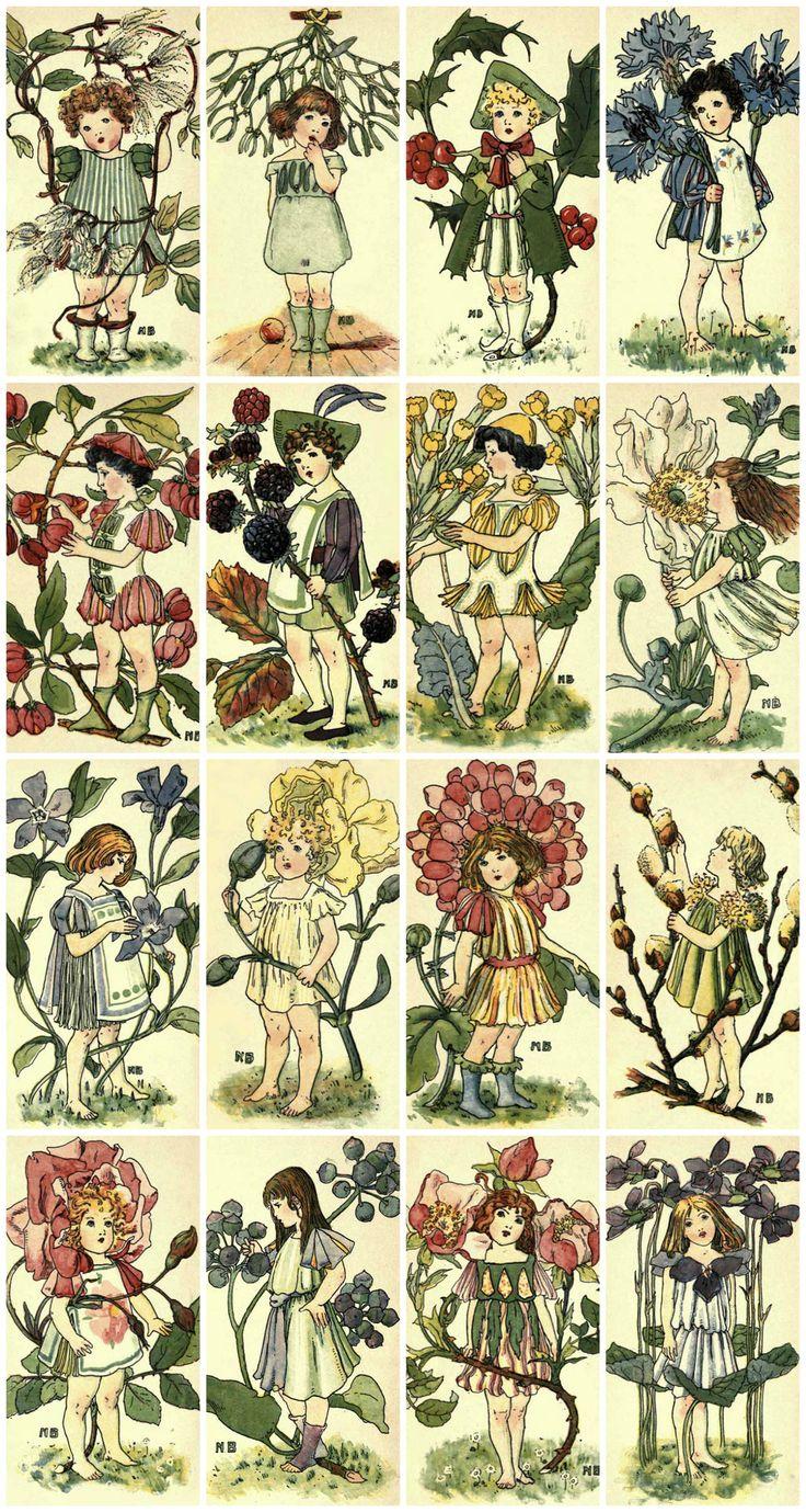 Victorian Flower Children Collage Sheet Printed Collage Sheet, Weddings, Decoupage, Scrapbook, Altered Art, Victorian Scrap