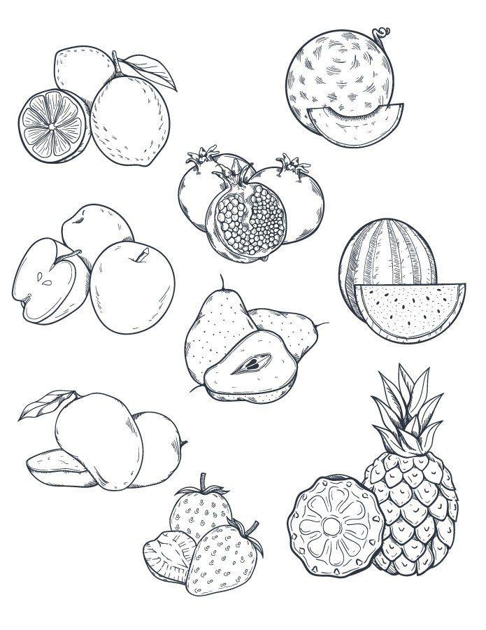 18 best d licieuse page de coloriage nourriture bouffe - Fruits a colorier et a imprimer ...