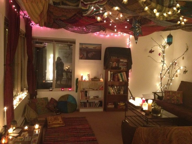 What if we put tapestries on the living room ceiling, and stringed lights and candles everywhere?