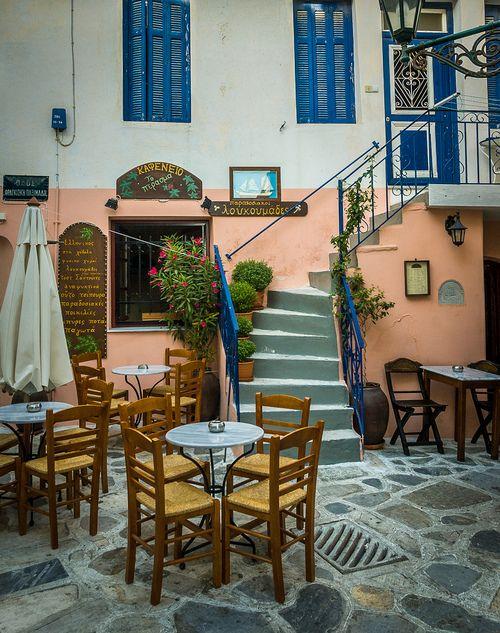 cafe on Tinos Island, Greece