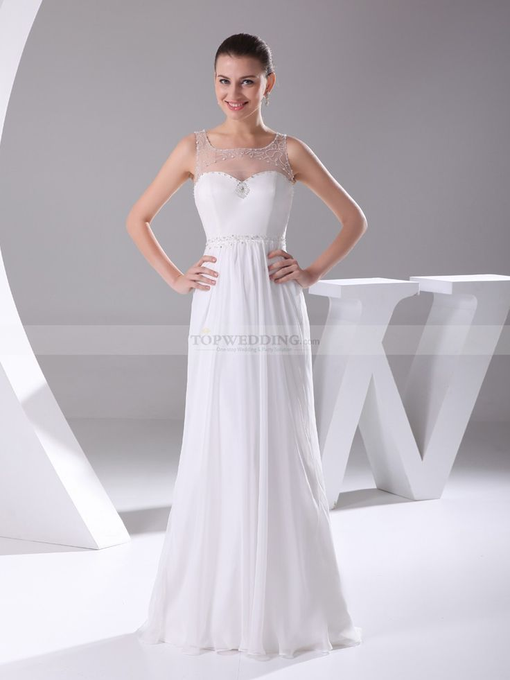 Miligrosa - Sheer Top Featured A Line Chiffon Wedding Dress with Beading