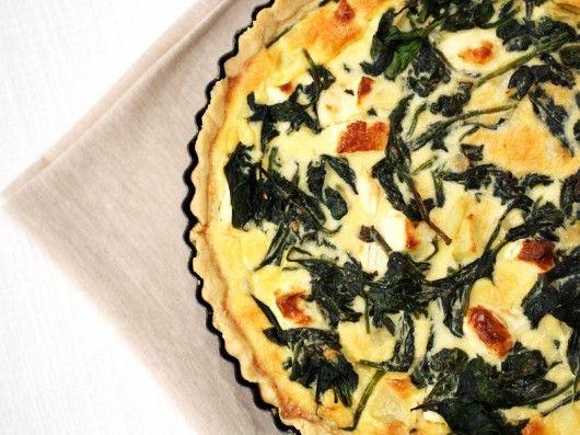 quiche with spinach, potato and feta