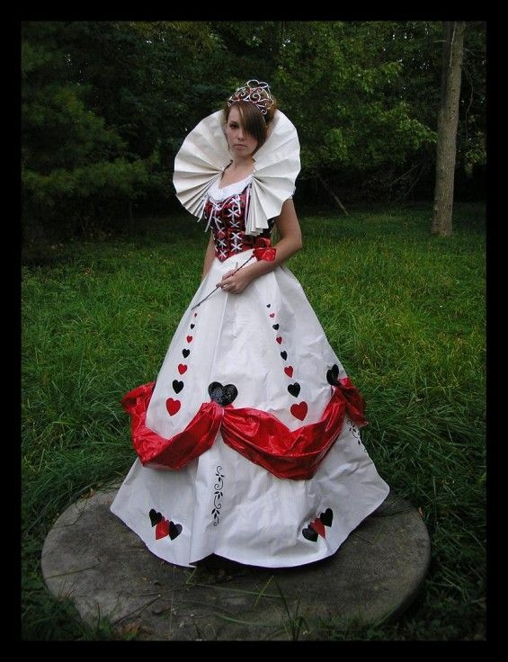 "Duct tape Queen of Hearts  dress made entirely out of duct tape by ""Duct Tape Bandit"" #alice #wonderland"
