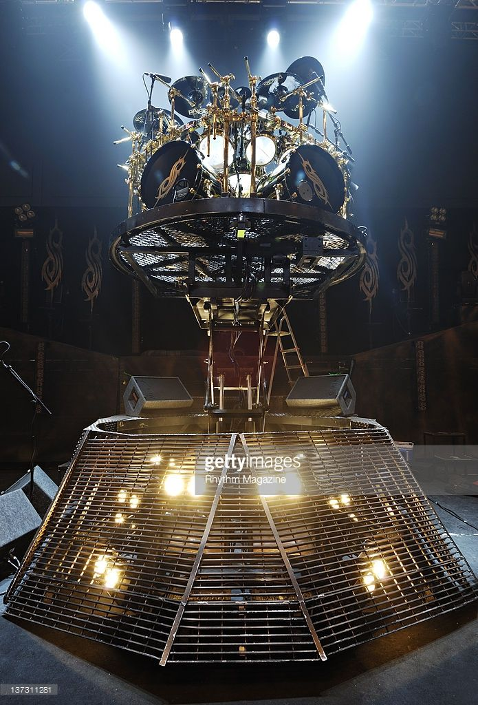 Joey Jordison (when he was with slipknot) drum kit on the drum riser.