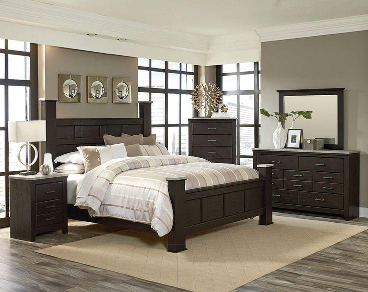 Panel Poster Bed, Pecan Finish, Gray Tops | Stonehill Dark Bedroom Set