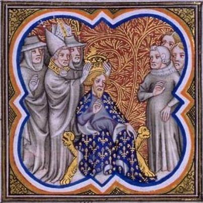 VIII-IX secolo   La miniatura – Carlo Magno incoronato imperatore nell'anno 800 dal papa Leone III – è tratta dalla c. 97 della sontuosa Grandes chroniques de France (F-Pn, Français 2813) redatta per Carlo V (1338-1380).