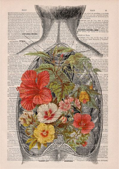Nature Open Back human Anatomy Print on dictionary page by PRRINT
