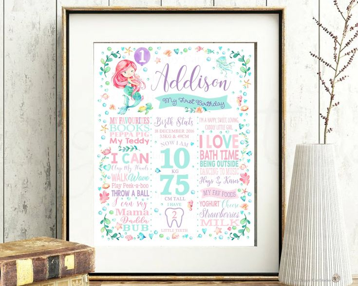 Mermaid 1st Birthday Chalkboard Sign, Girl, Personalized, Printable, Milestones, Stats, First, One Year, Poster, Nursery Wall Decoration by TheHappyCatStudio on Etsy