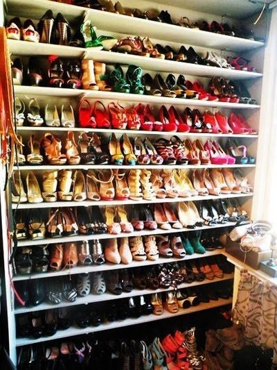 Wall of shoes... who wouldn't want this?