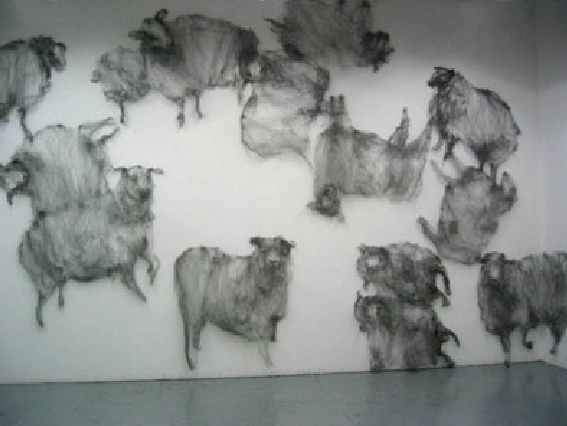 Art made out of steel wool . . . what an appropriate subject . . .   Rebecca Szeto