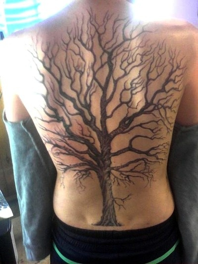Oak tree on whole back placement tattoos pinterest for Tree back tattoo