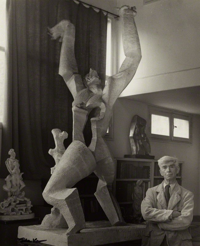 Ossip Zadkine with 'The Destroyed City' by Ida Kar