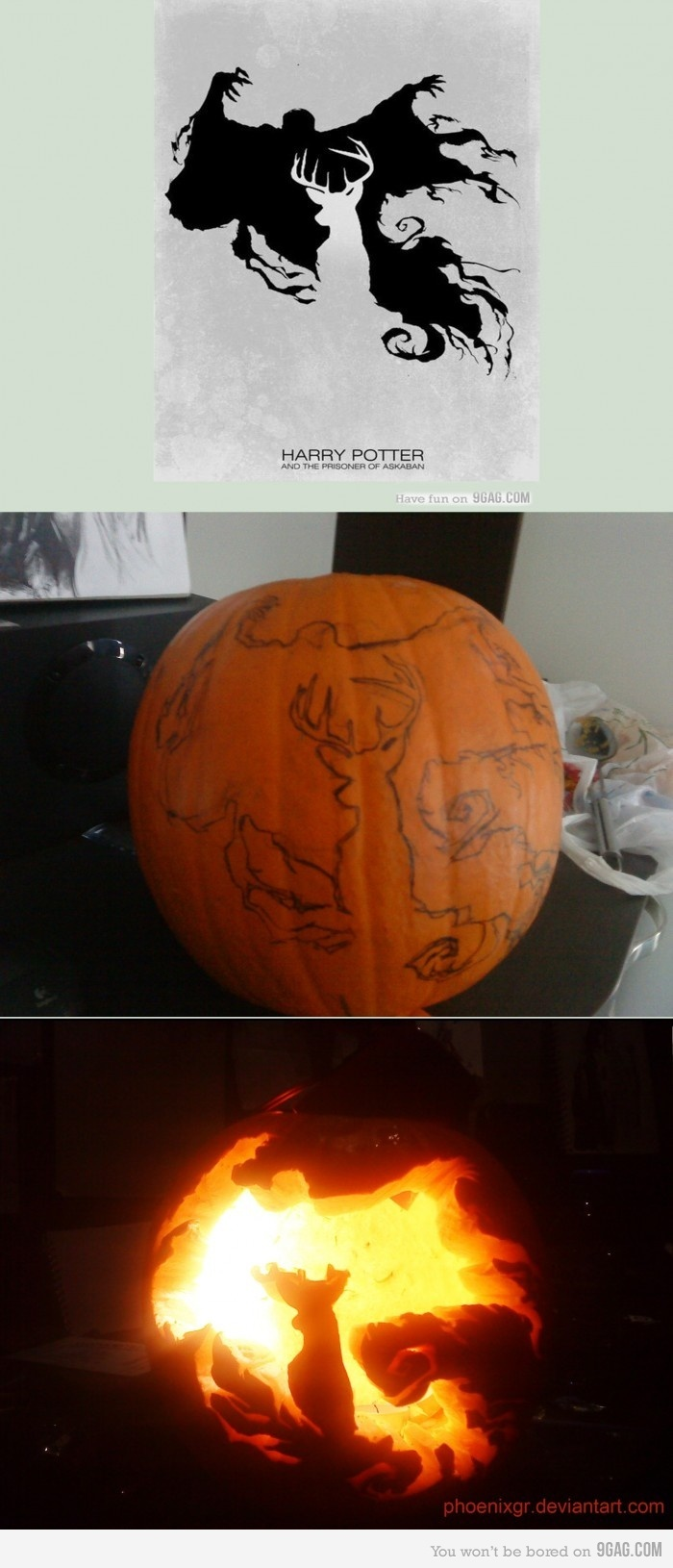 Harry Potter Dementor and Stag Pumpkin. I would probably swap it and outline the dementor so the patronus is the light