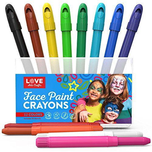 Face Paint Sticks- Safe, Non Toxic 12 Vibrant Color Palette. Professional Face Painting Kit with Easy to Apply and Clean Long Lasting Twist Up Crayons. 18 FREE stencils and Bonus E-book.