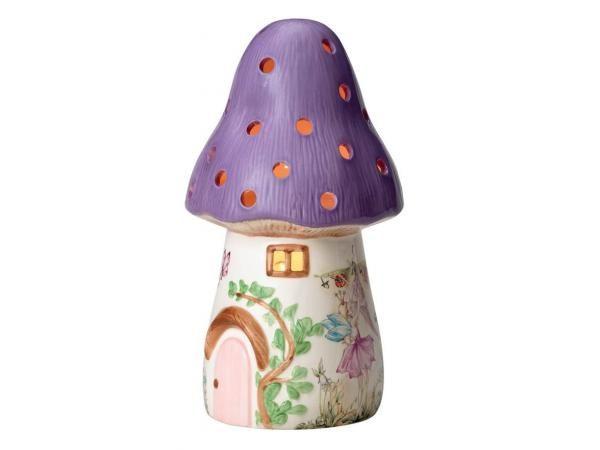 WHITE RABBIT ENGLAND - 01DL - Veilleuse terre cuite - gros champignon violet