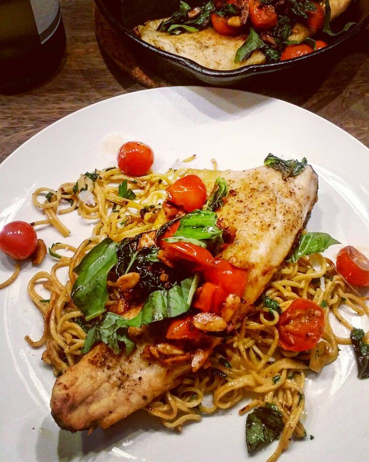 """8 Likes, 1 Comments - Nu (@nuthecook) on Instagram: """"Trout Almandine: Cherry Tomatoes, Basil, Almonds, White Wine. Spaghetti Aglio e Olio.#vcbfood…"""""""