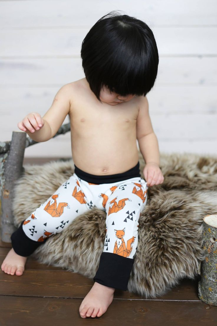 Evolutive infant pant - Fox and triangle - grow-with-me pants - clothes diapers bottom