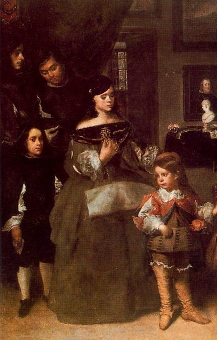 The family of the artist (detail)by Juan Bautista Martinez del Mazo. Del Mazo and Francisca Velazquez, dau. of the artist, married in 1633. Inez the first child was born in 1635 but she is not shown with her siblings. Maria Teresa (born in 1648), the younger daughter, is the figure here. She married a nobleman and her direct descendants include Queen Sofia of Spain, Queen Beatrix of the Netherlands and the King of Sweden.