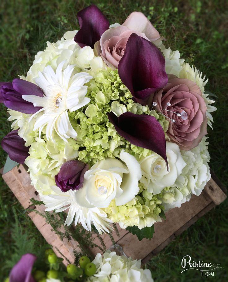 Bridal Bouquets Calla Lilies And Hydrangeas : Purple white green bridal bouquet designed with hydrangea