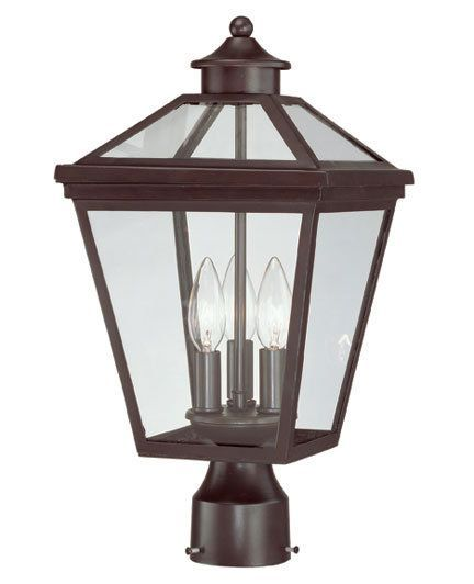 View the Savoy House 5-147 Heritage Ellijay Three-Light Traditional Post Lantern with Clear Glass, Finished in English Bronze at LightingDirect.com.