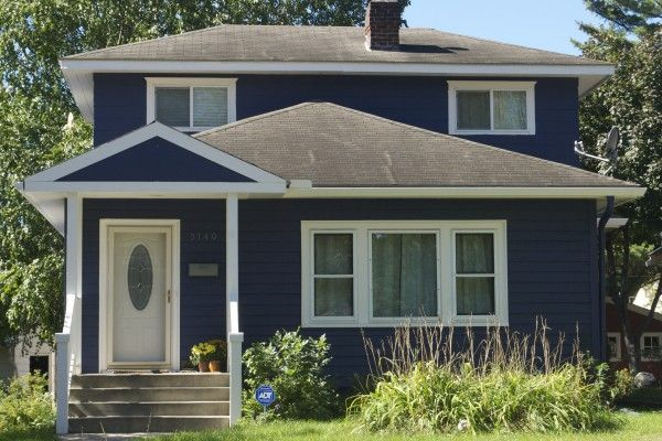 Navy blue old house house color pinterest house colors stucco house colors and dark blue - Dark grey exterior house paint concept ...