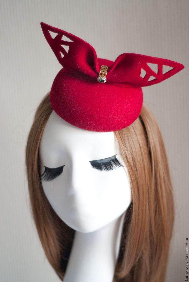 """Купить """"Souvenir"""" - ярко-красный, малиновый, шяпка, маленькая шляпка, таблетка, женская шляпка"""
