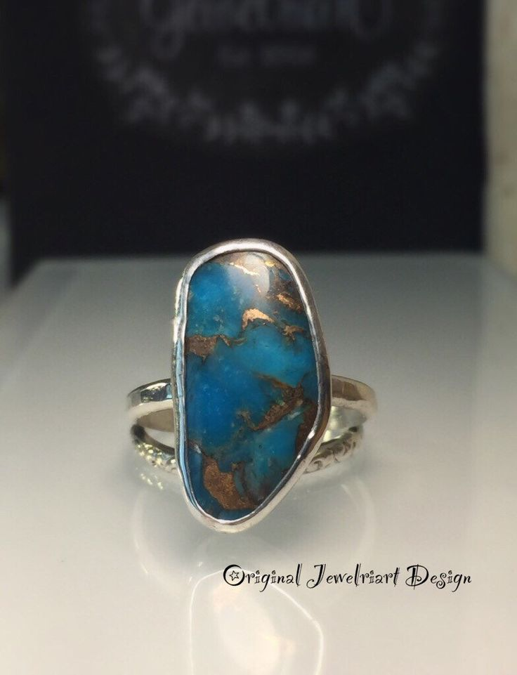 A personal favorite from my Etsy shop https://www.etsy.com/listing/604063059/blue-copper-turquoise-ringfreeform