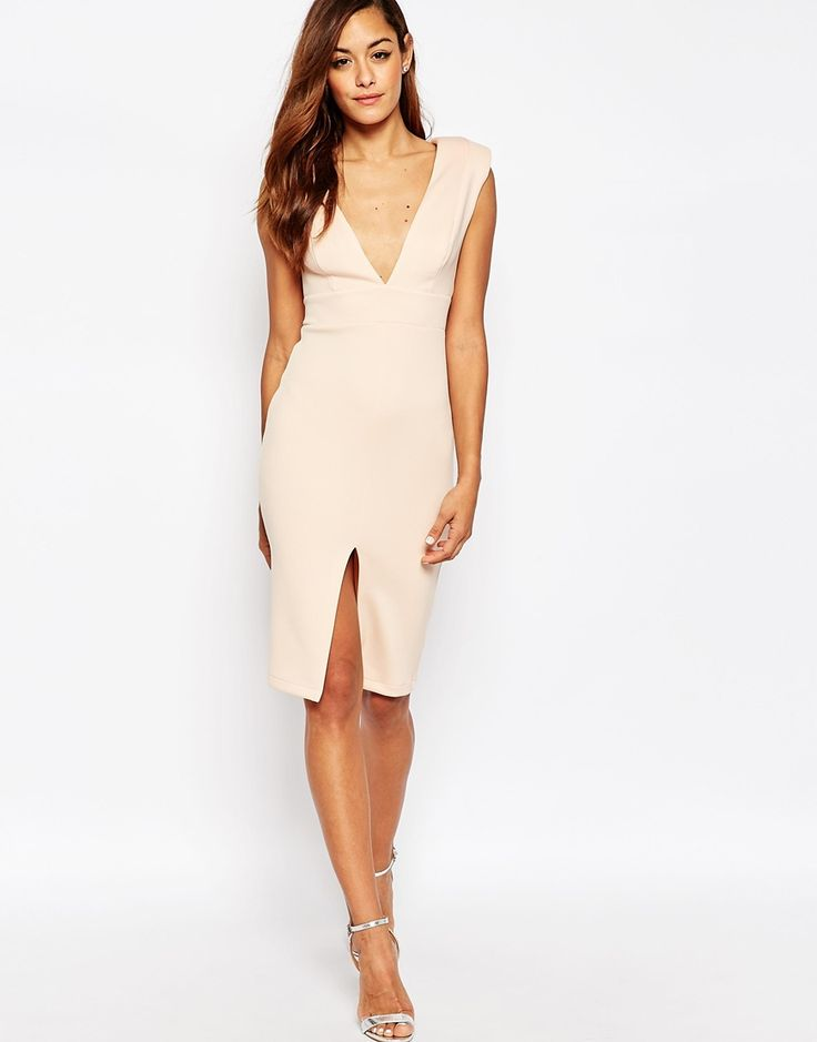 Image 1 of ASOS Asymmetric Plunge Shoulder Pad Scuba Midi Dress
