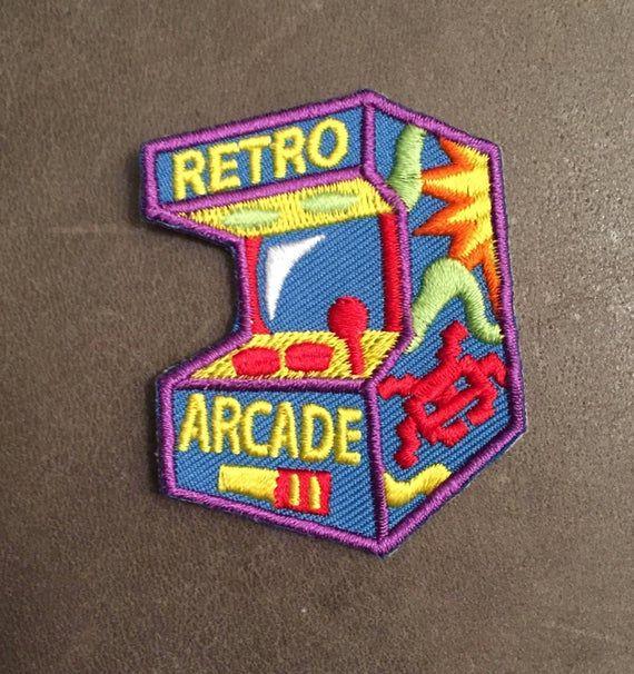 Retro Arcade Merit Badge Quarters Coin Operated Video Game Etsy In 2020 Retro Arcade Retro Patch Cute Patches