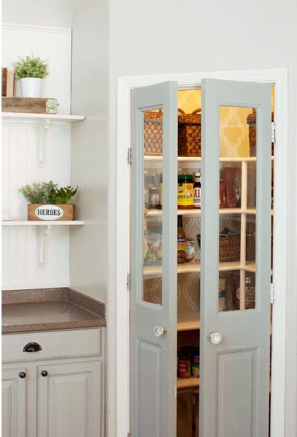 Kitchen pantry door, but either frost glass or solid wood. But two tiny French doors