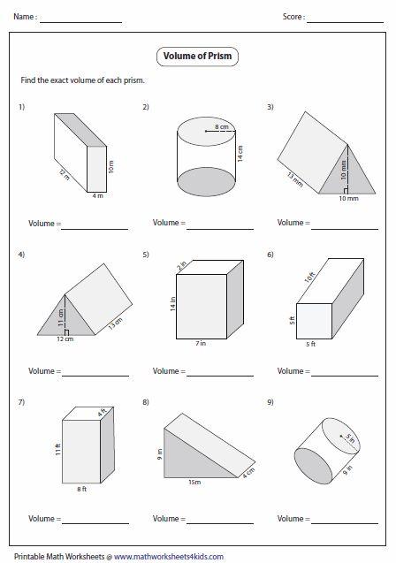 Volume Of Prisms Level 1 G7 Volume Worksheets