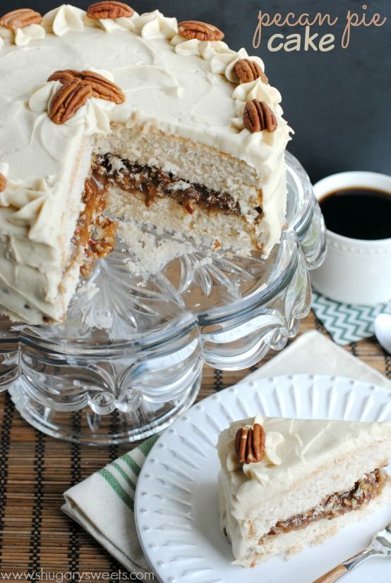 Pecan Pie Cake: double layer spice cake, from scratch, with a pecan pie filling and brown sugar frosting! This is a must have dessert!