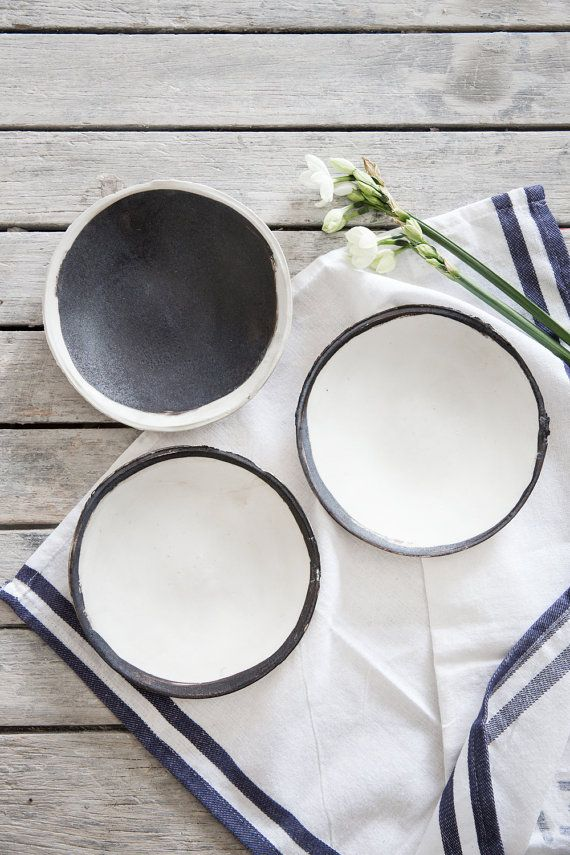 Ceramic Plate set of 2, Cake Plate,Black&white Plate,Wabi Sabi Pottery,Stoneware Plate,Housewarming Gift.  This set of 2 special plates is