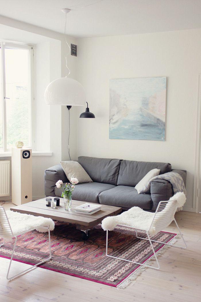 My living room with Muuto sofa, Hay chairs & kelim rug // pic: www.eevakolu.fi